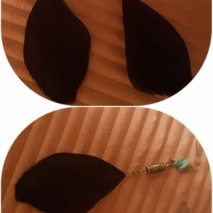 Black Feather Ear Rings